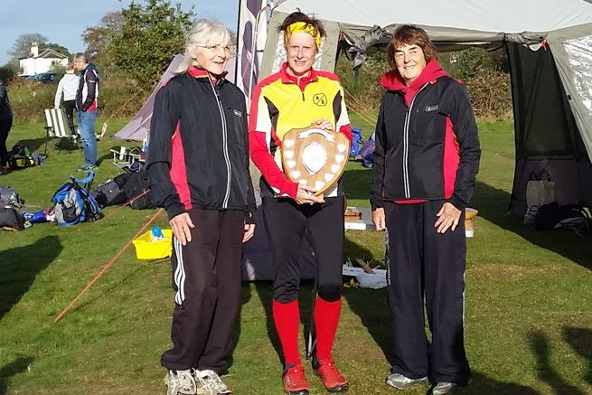 Sheila Carey2c Karin Kirk and Sue Hallett2c winners of Super Vet Womens W.Midlands Relay Trophy 2017